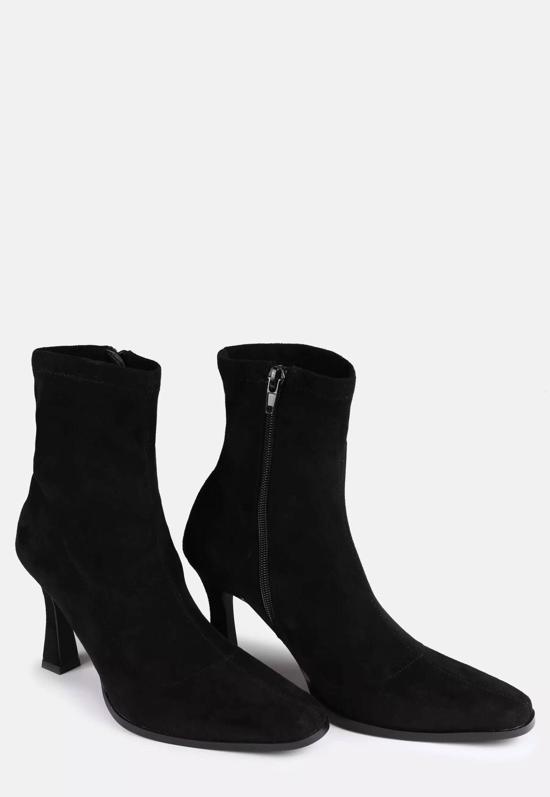 black faux suede feature heel sock boots