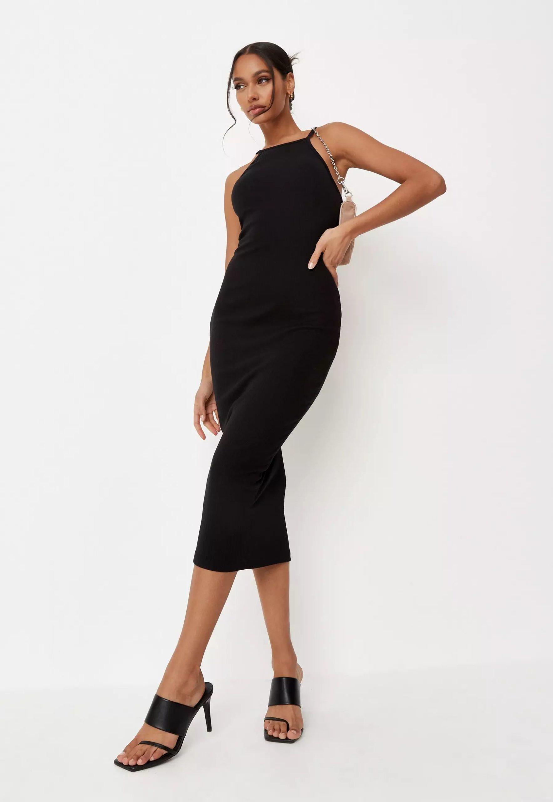 black ribbed 90s neck bodycon midi dress