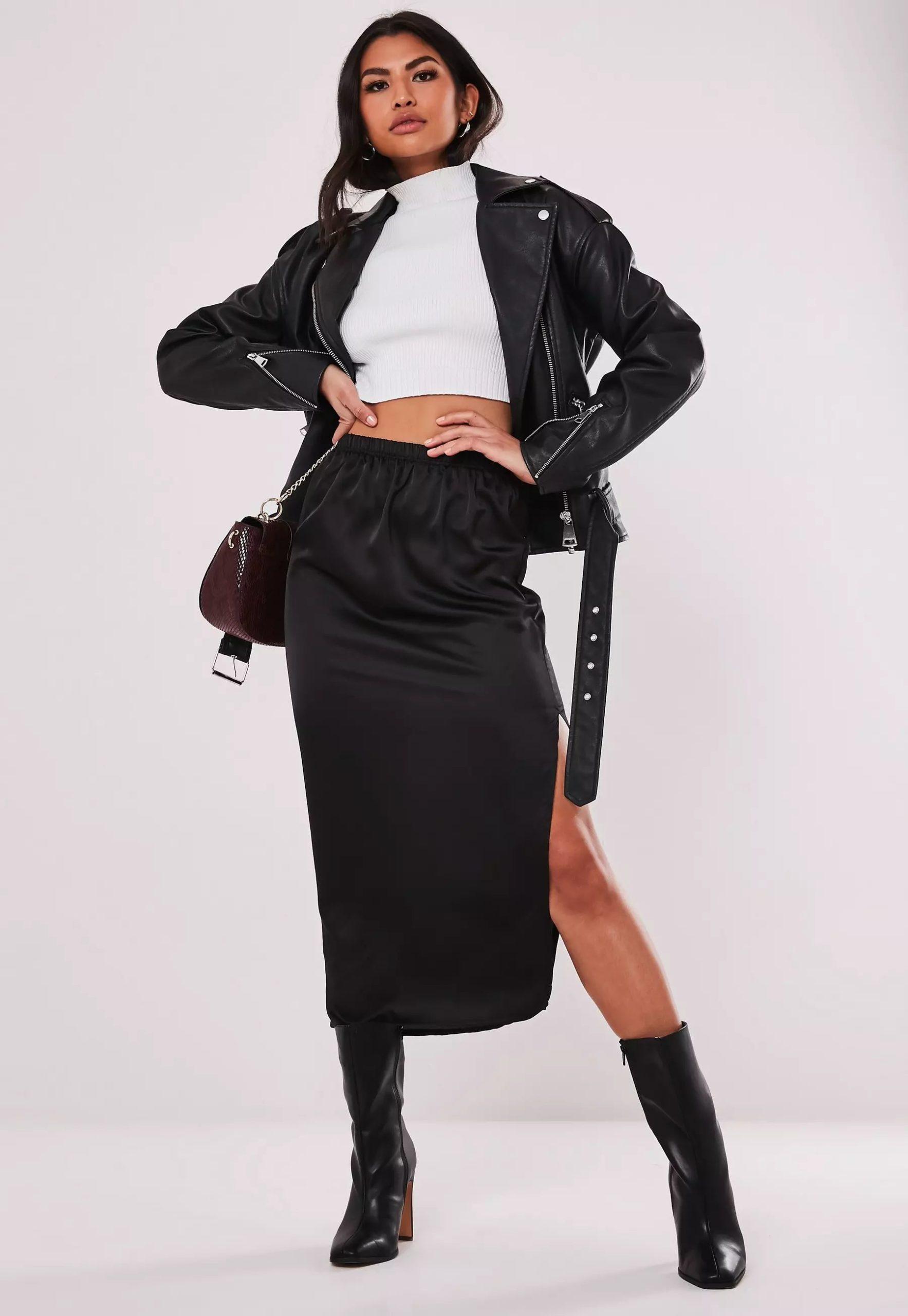 black satin midi slip skirt