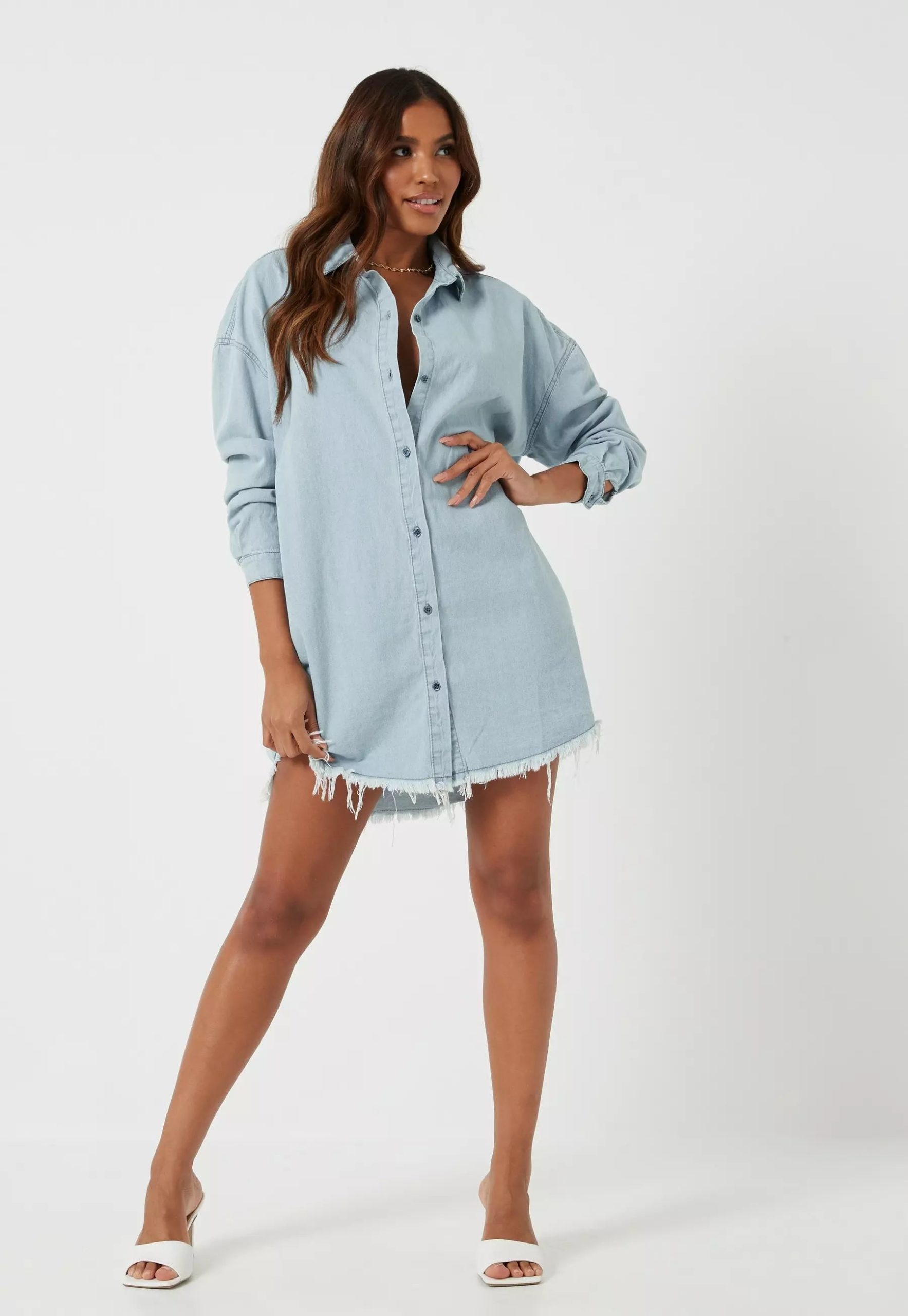 blue stonewash oversized denim shirt dress