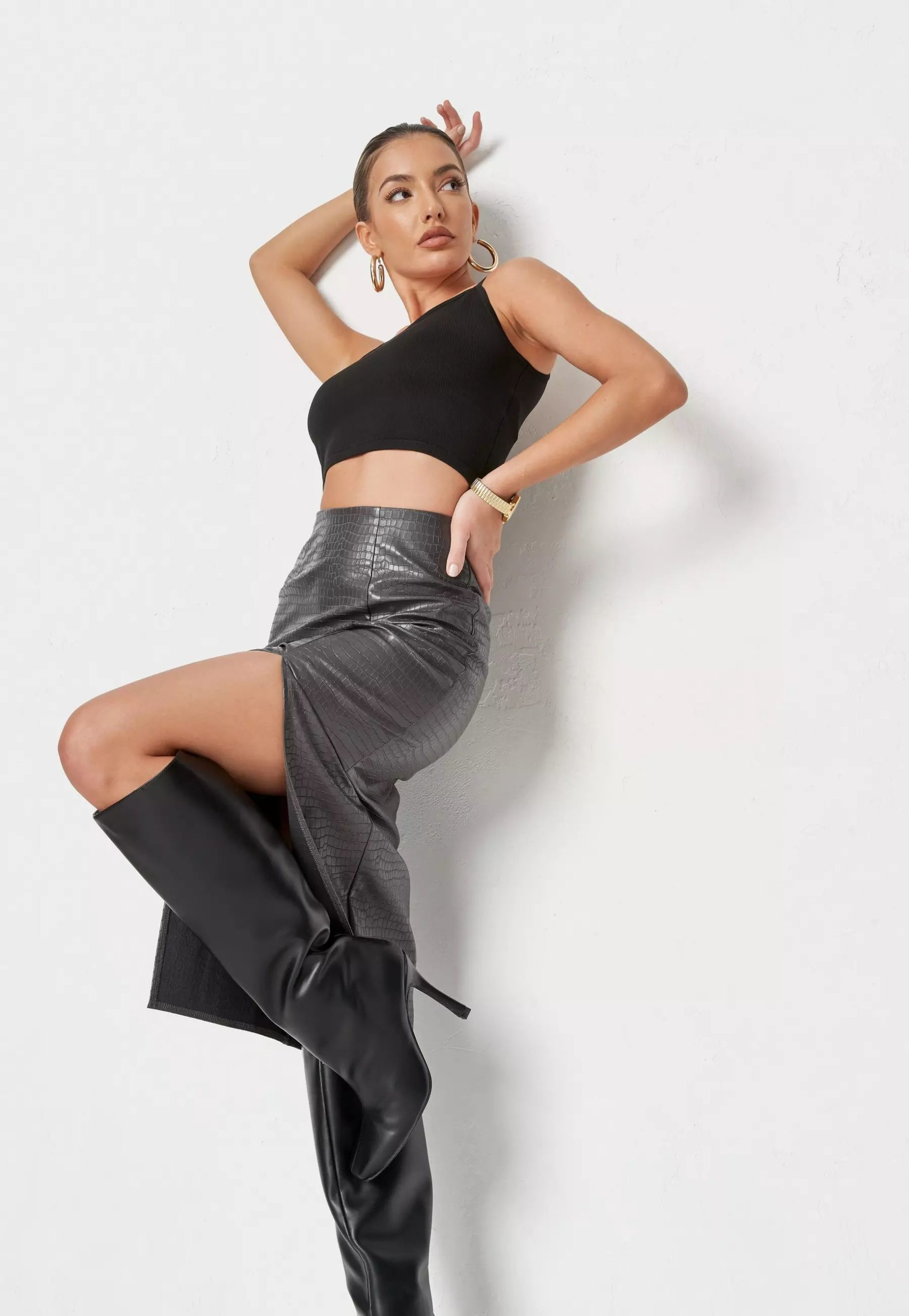 charocal croc faux leather midaxi skirt