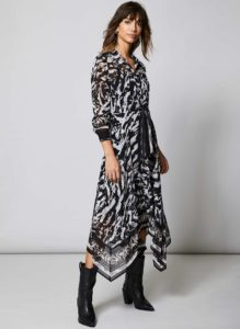 cow print dress with belt