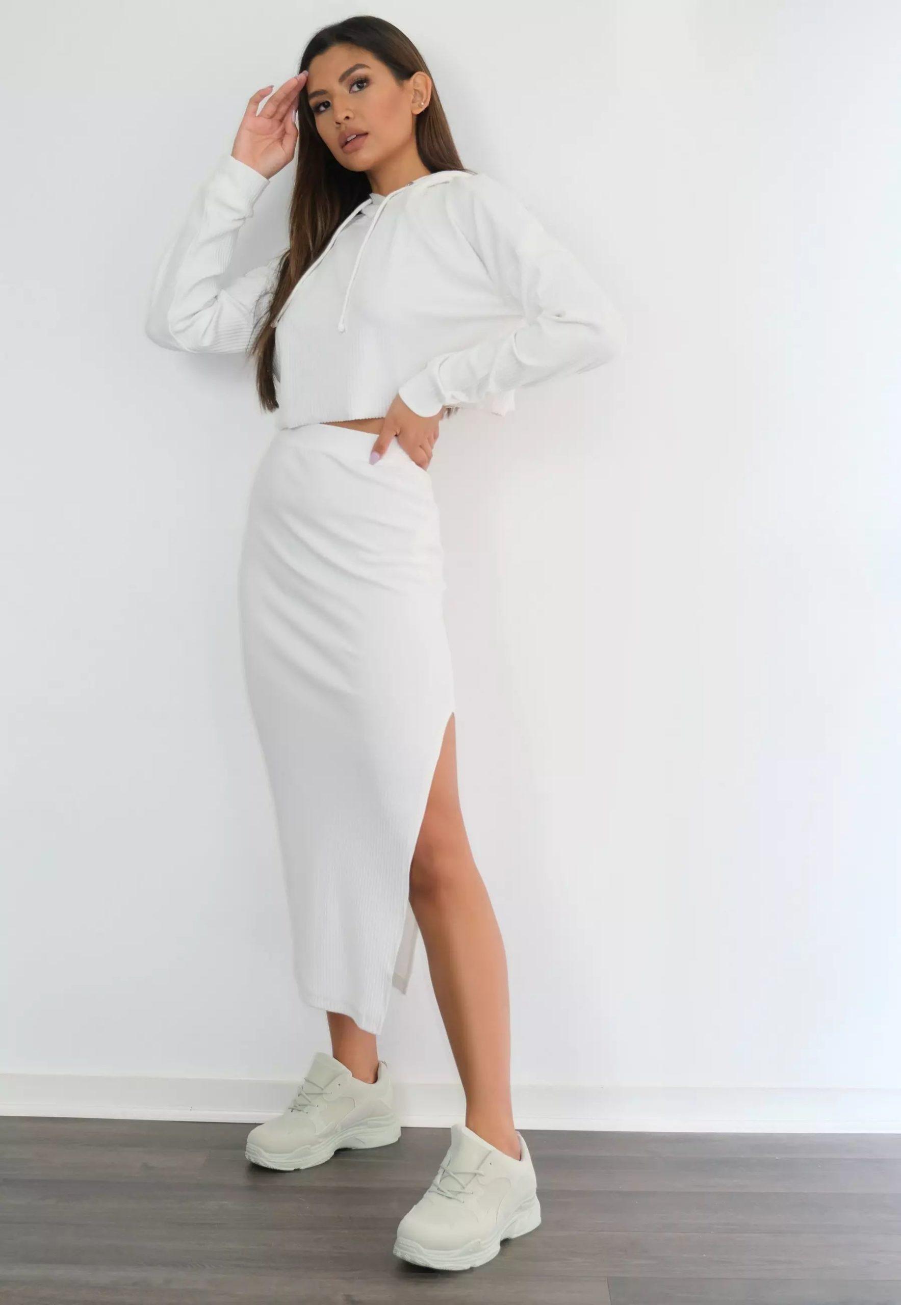cream rib midi skirt