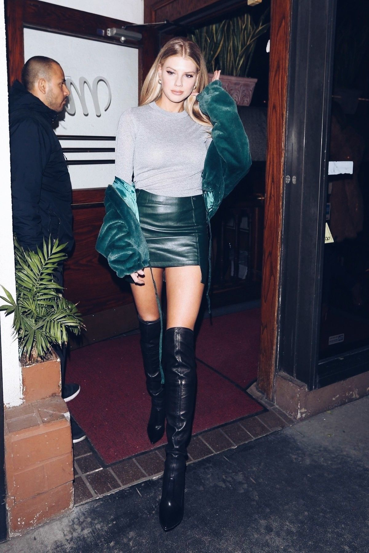 mini Leather skirt with Halter neck top