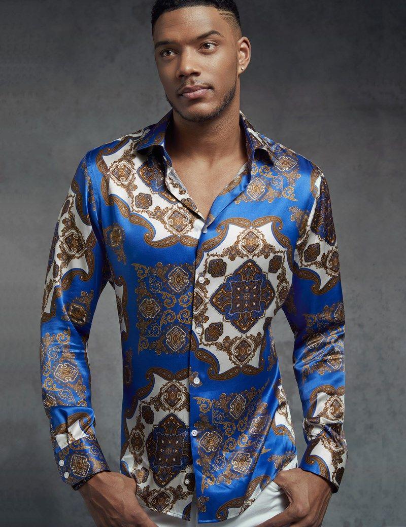 Mens designer satin shirt