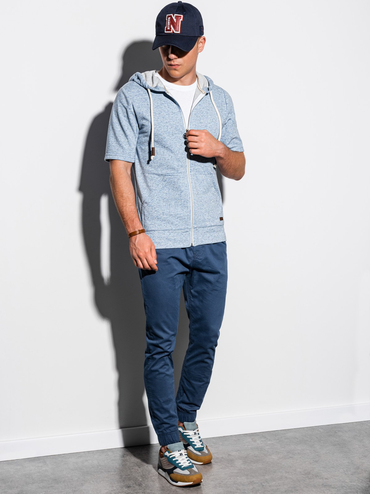 short sleeve hoodie with blue jeans