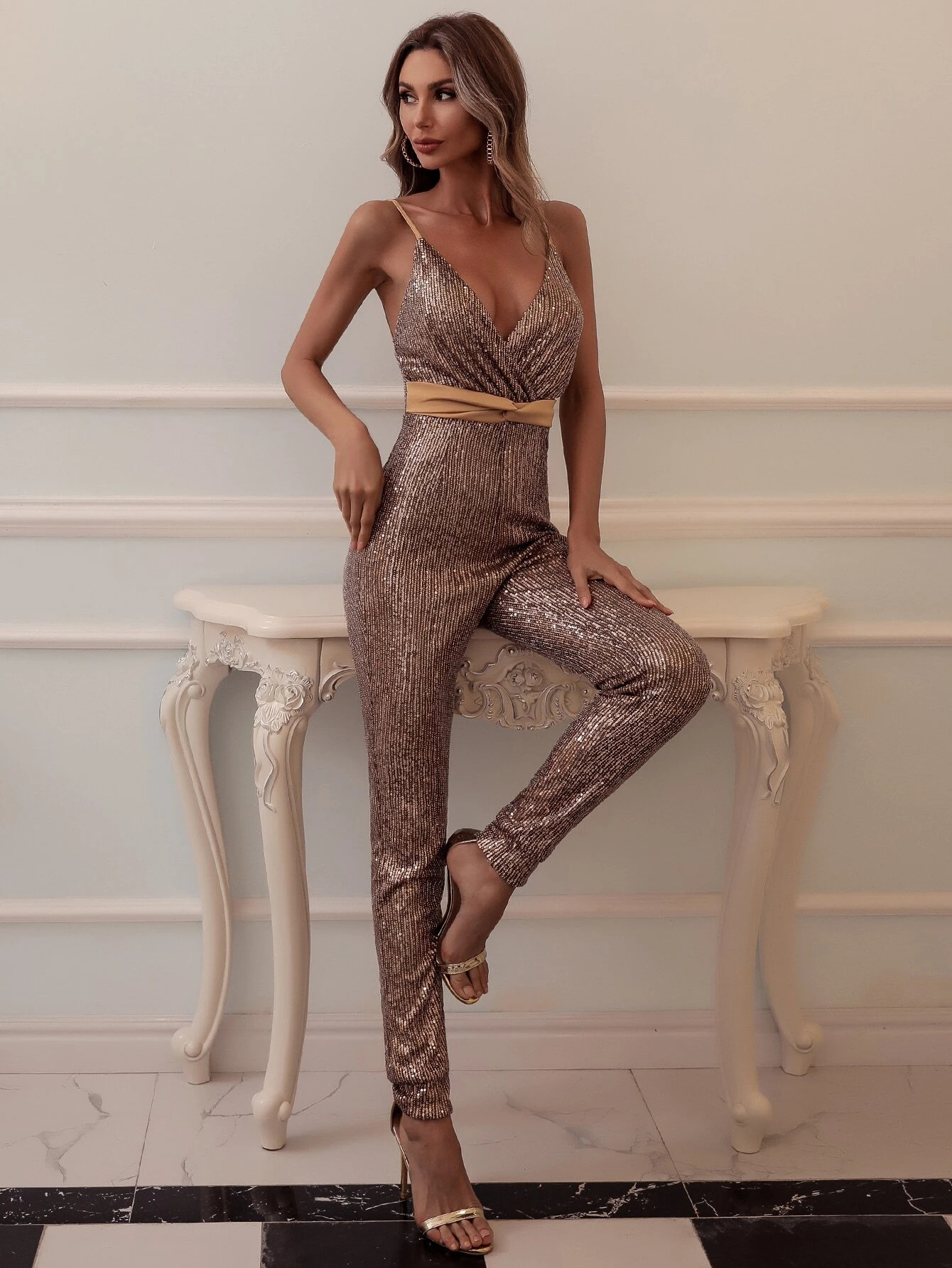 Missord Twist Front Backless Sequin Jumpsuit