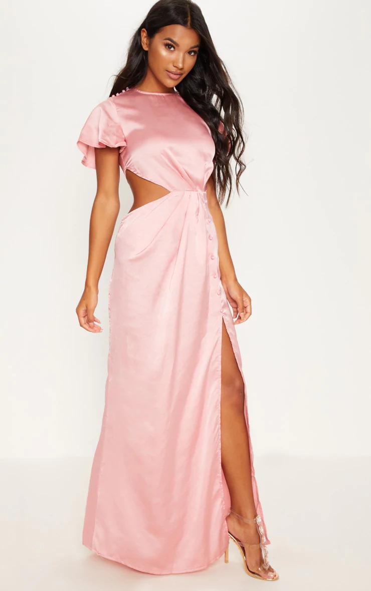 Side Cut Out silk Maxi Dress