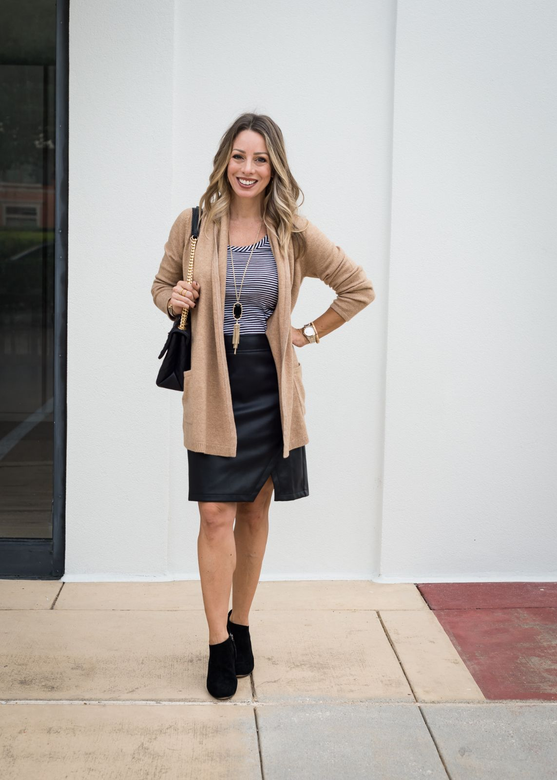 leather skirt with Silk cardigan