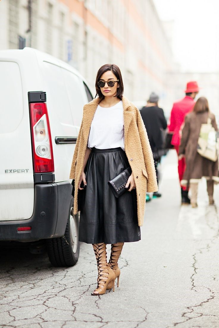 Leather skirt with Camel coat