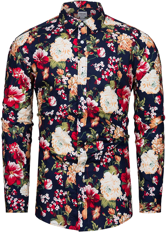 fohemr Mens Floral Printed Dress Shirts Long Sleeve Vintage Flower Casual Button Down Shirt Cotton