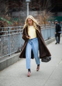 fur coat with jeans image