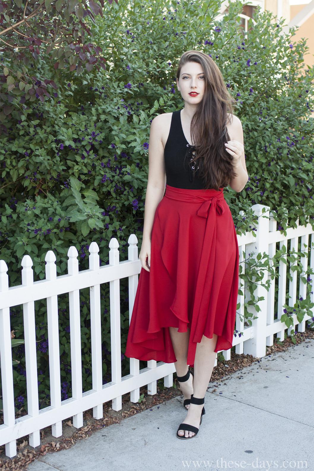 wrap skirts with chunky heels
