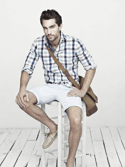 Check Shirt With Chino shorts & Boat Shoes.