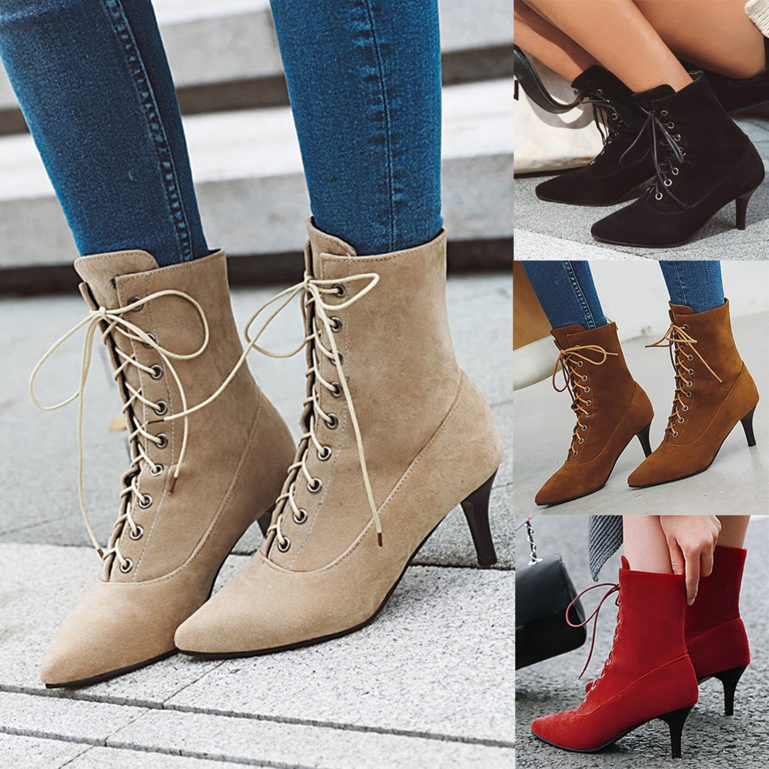 Women Suede Lace-Up Boots