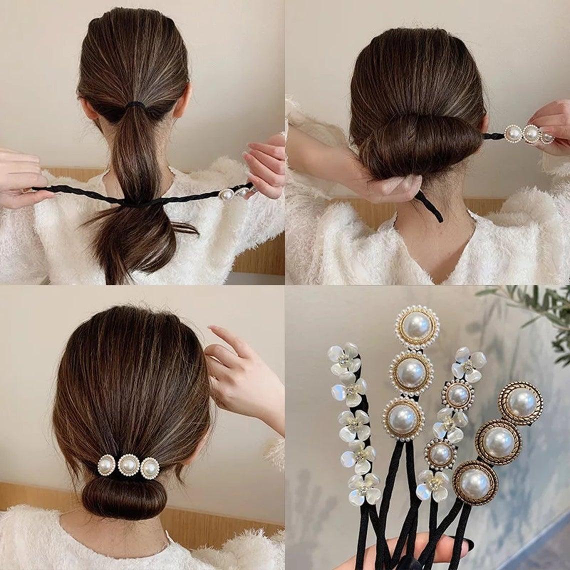 Hair Bun Maker Tool With Faux Pearl Stone Flowers For Women Girls Ponytail Low Bun Donut Hair Accessories Braider Twist Headwear Jewellery