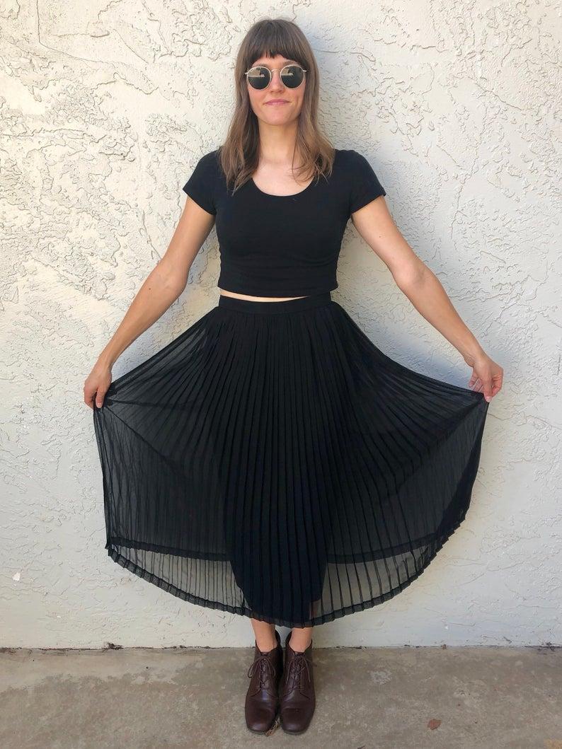 Classy Long Black Pleated High Waisted Sheer Skirt with Slip Medium