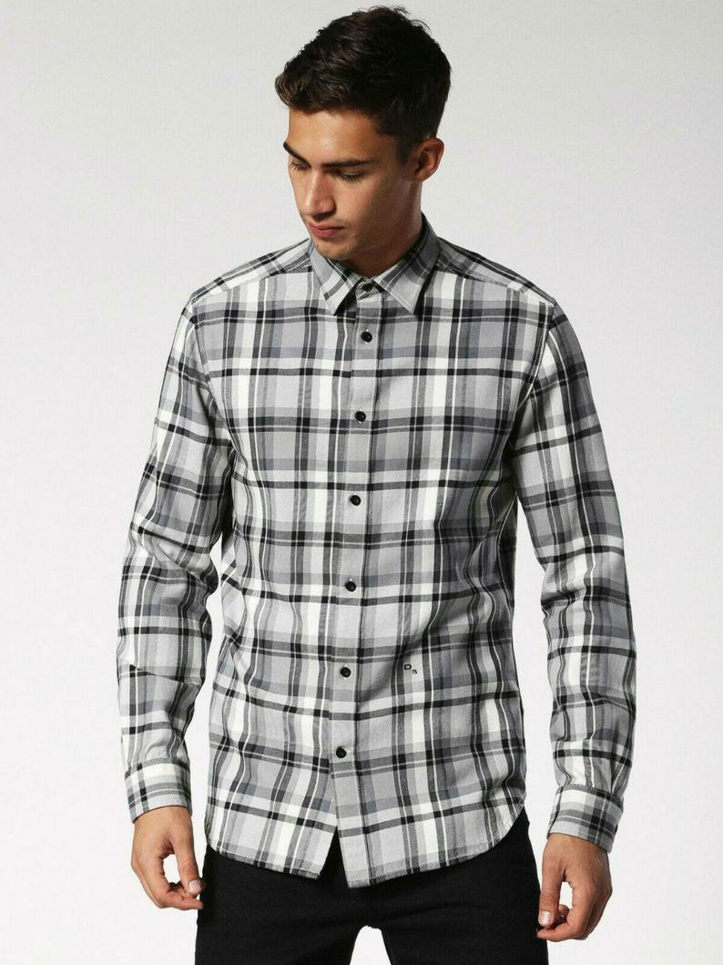 Bnwot Diesel Checked Grey Black Tartan Shirt Cotton