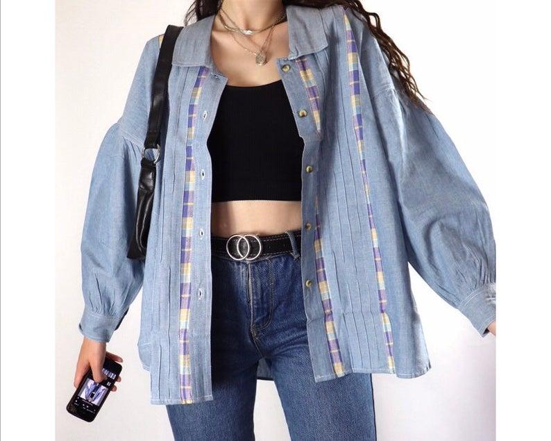 Vintage dead stock denim button up shirt jacket