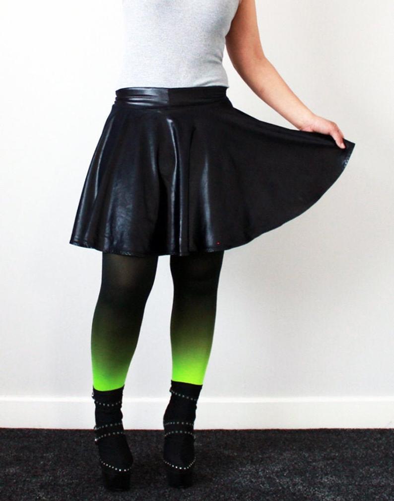 Black Wet Look latex Lycra circle skater skirt