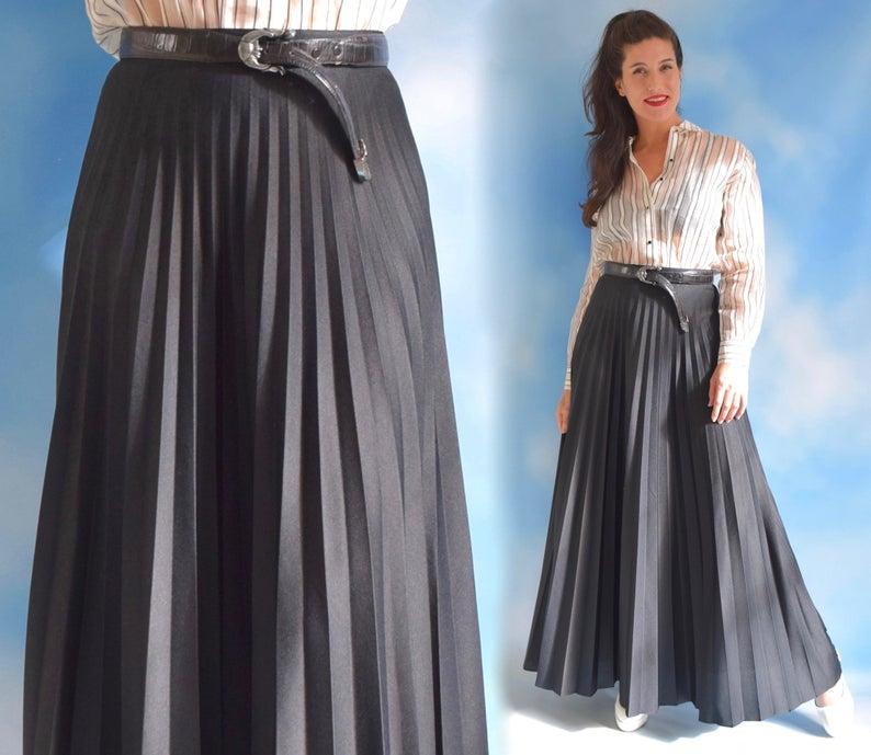 Black Accordion Pleated High Waisted Full A Line Maxi Skirt