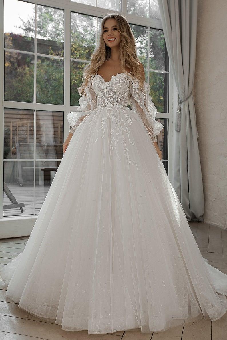 Boho Ball gown lace wedding dress.