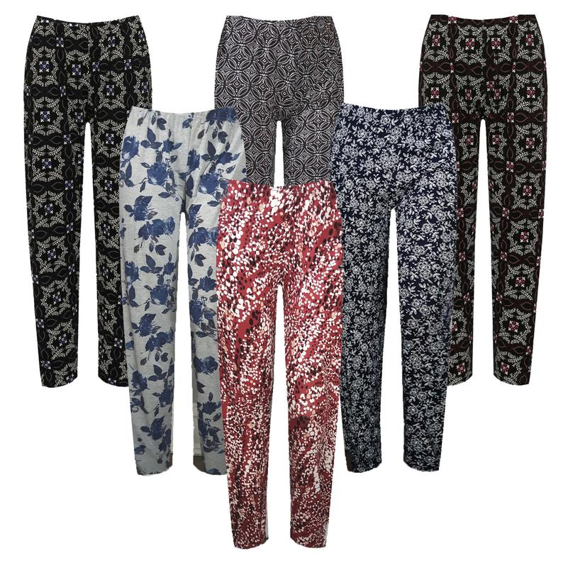 Womens Plus Floral Full Length Trousers