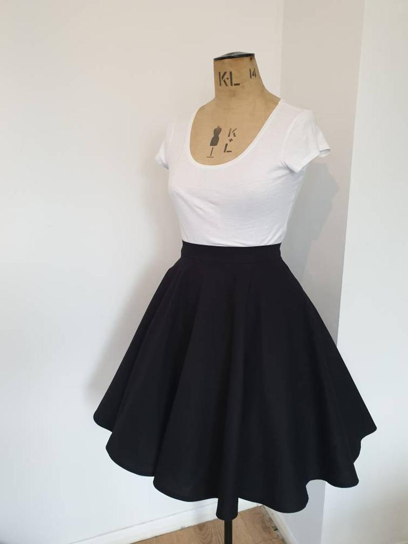 Cotton skater skirt with pockets