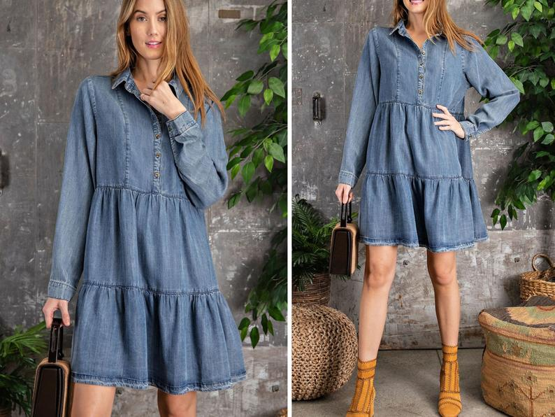 Soft Tencel Denim Shirt Babydoll Dress, Washed denim button down tiered dress, Vintage washed Denim shirt baby doll mini dress