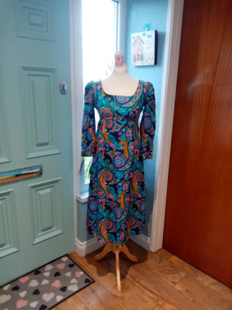 paisley blue handmade dress