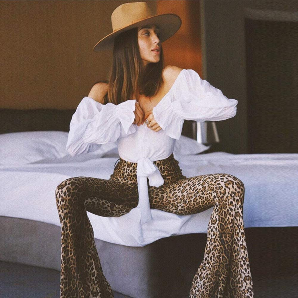 keepmore Trend Trousers Animal Print Pattern Ladies High Waist Slim Flared Pants-Tiger Leopard Snake Print