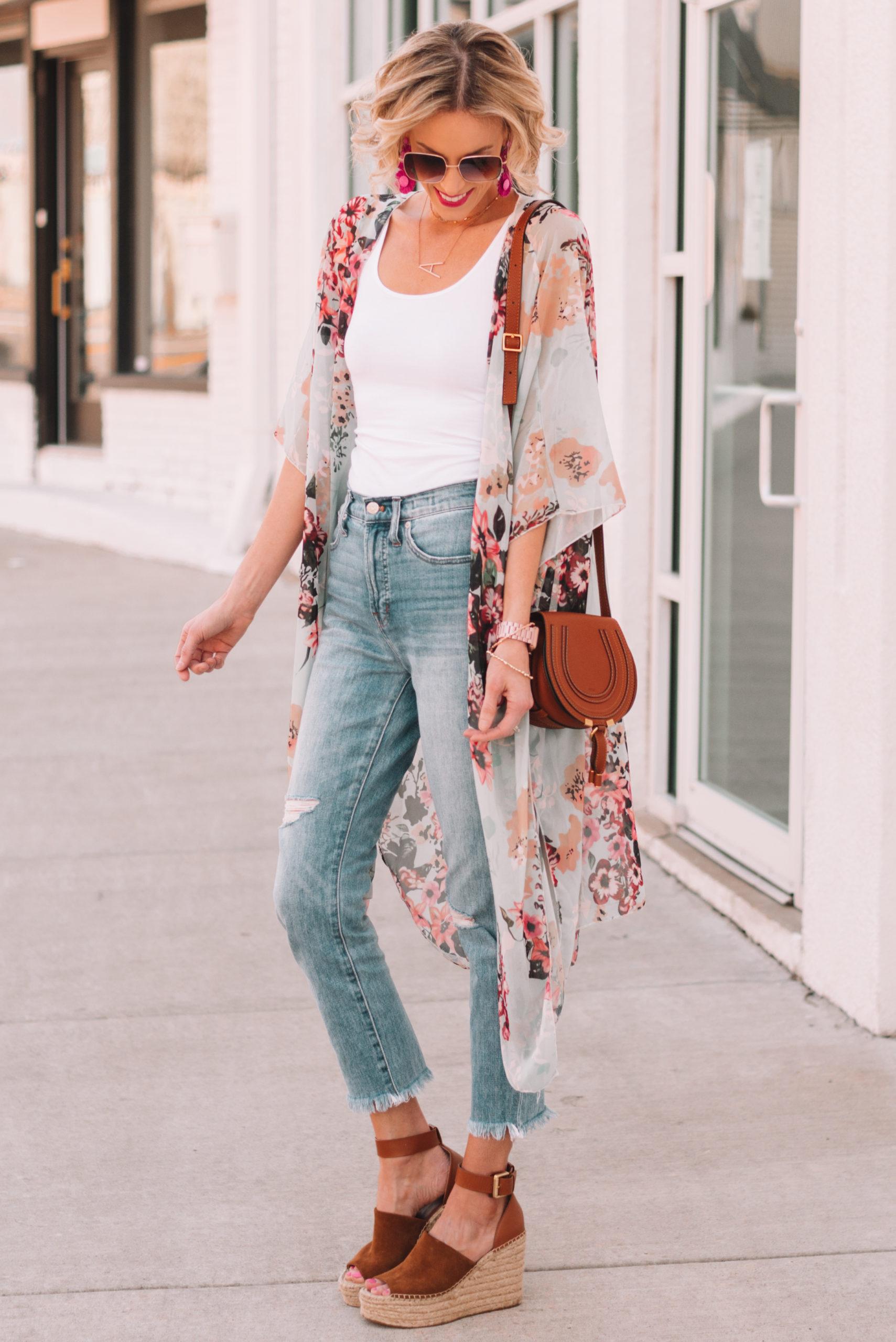 Kick Flare Jeans with Tank or Kimono Top