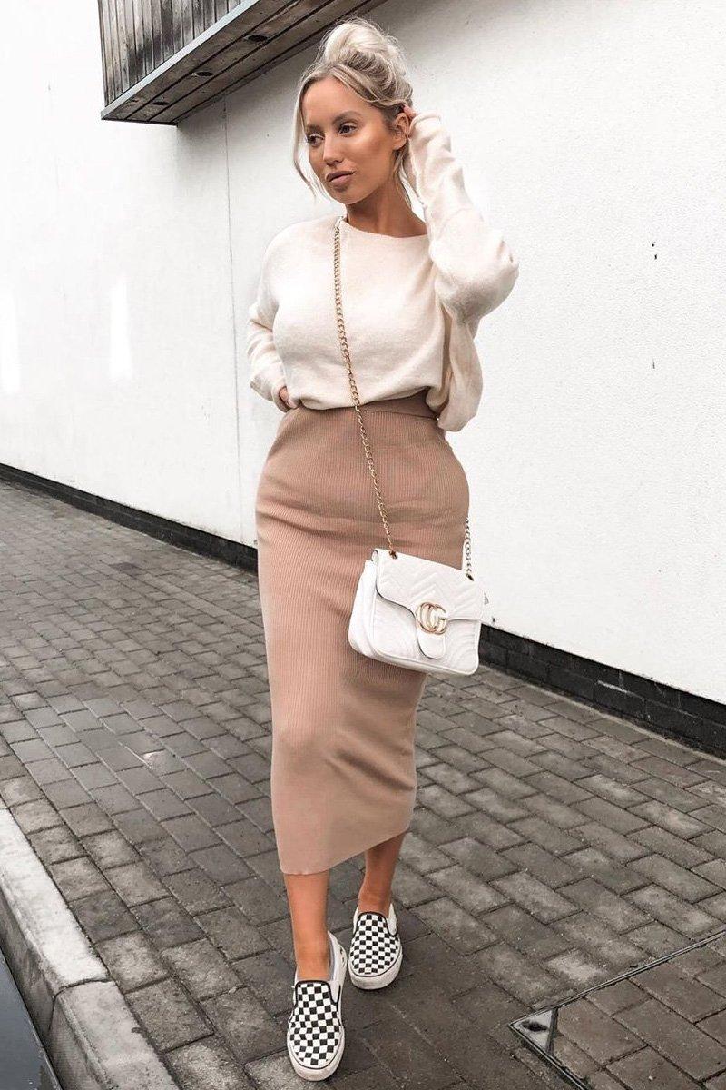 long Ribbed Midi Skirt