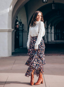 maxi skirt with cardigan image