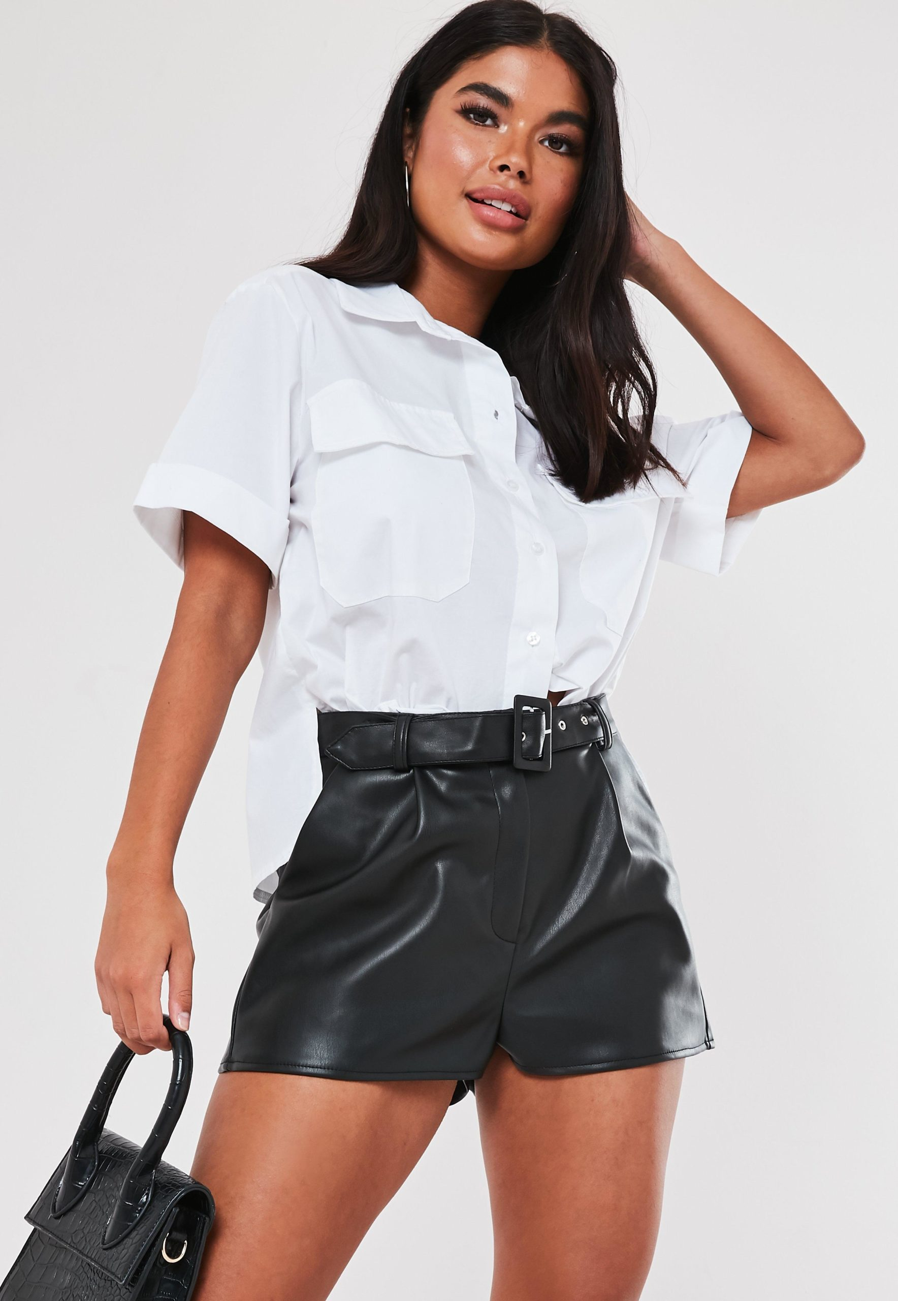 petite black faux leather belted shorts