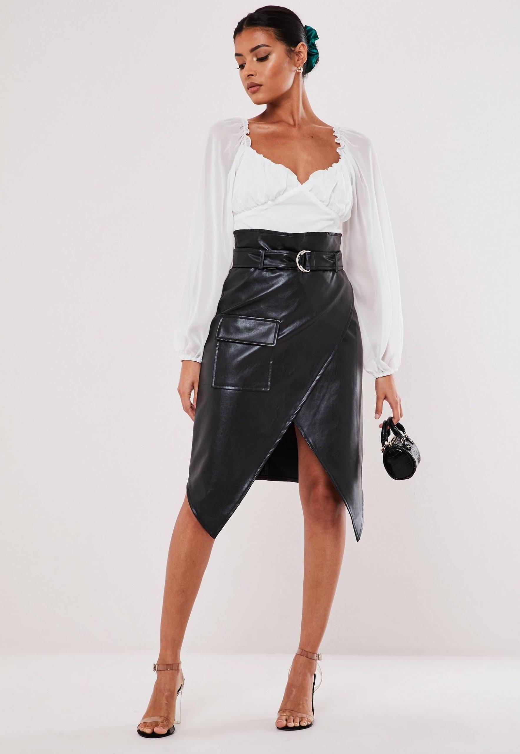 petite black faux leather wrap front skirt
