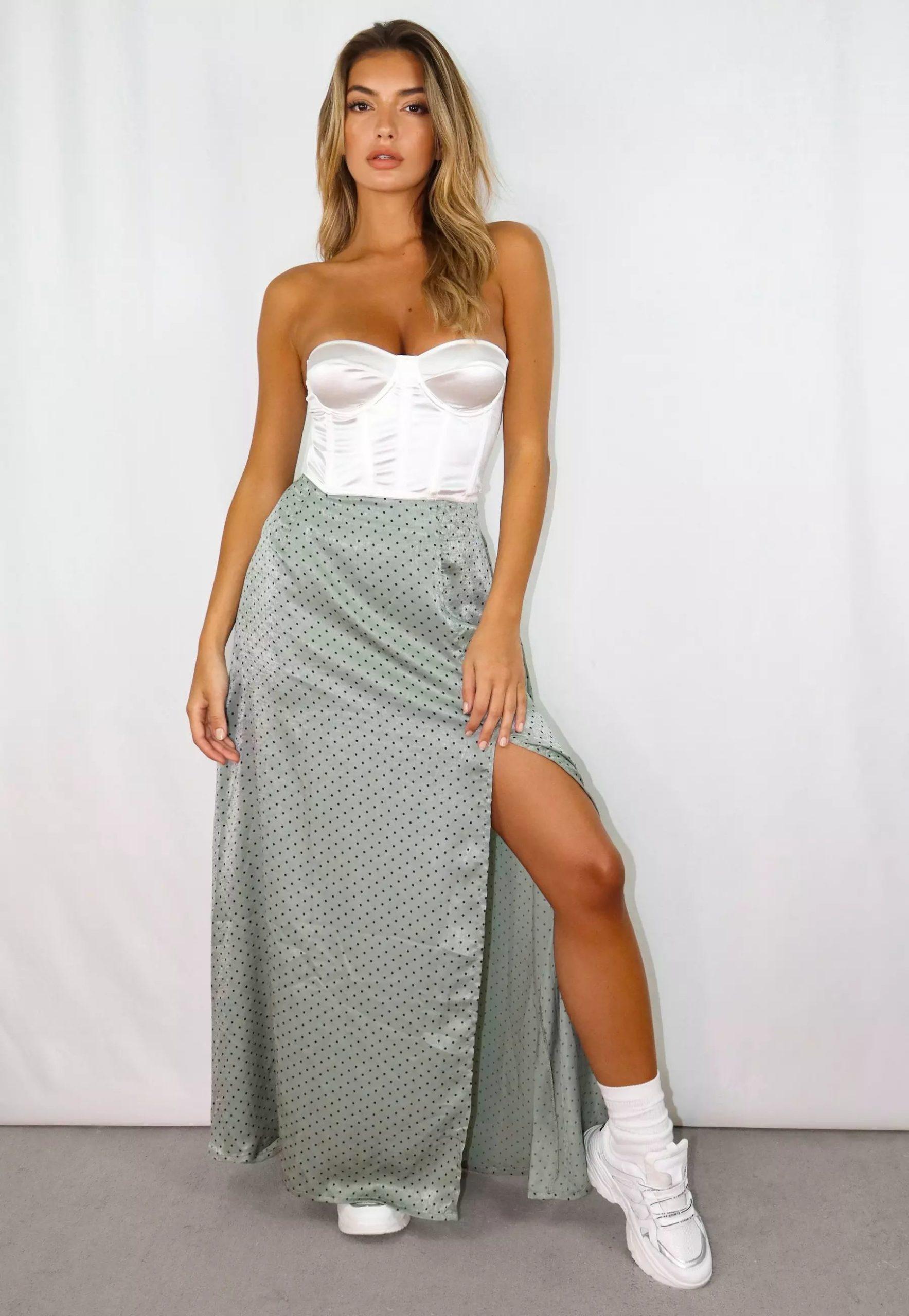 petite sage polka dot satin split maxi skirt
