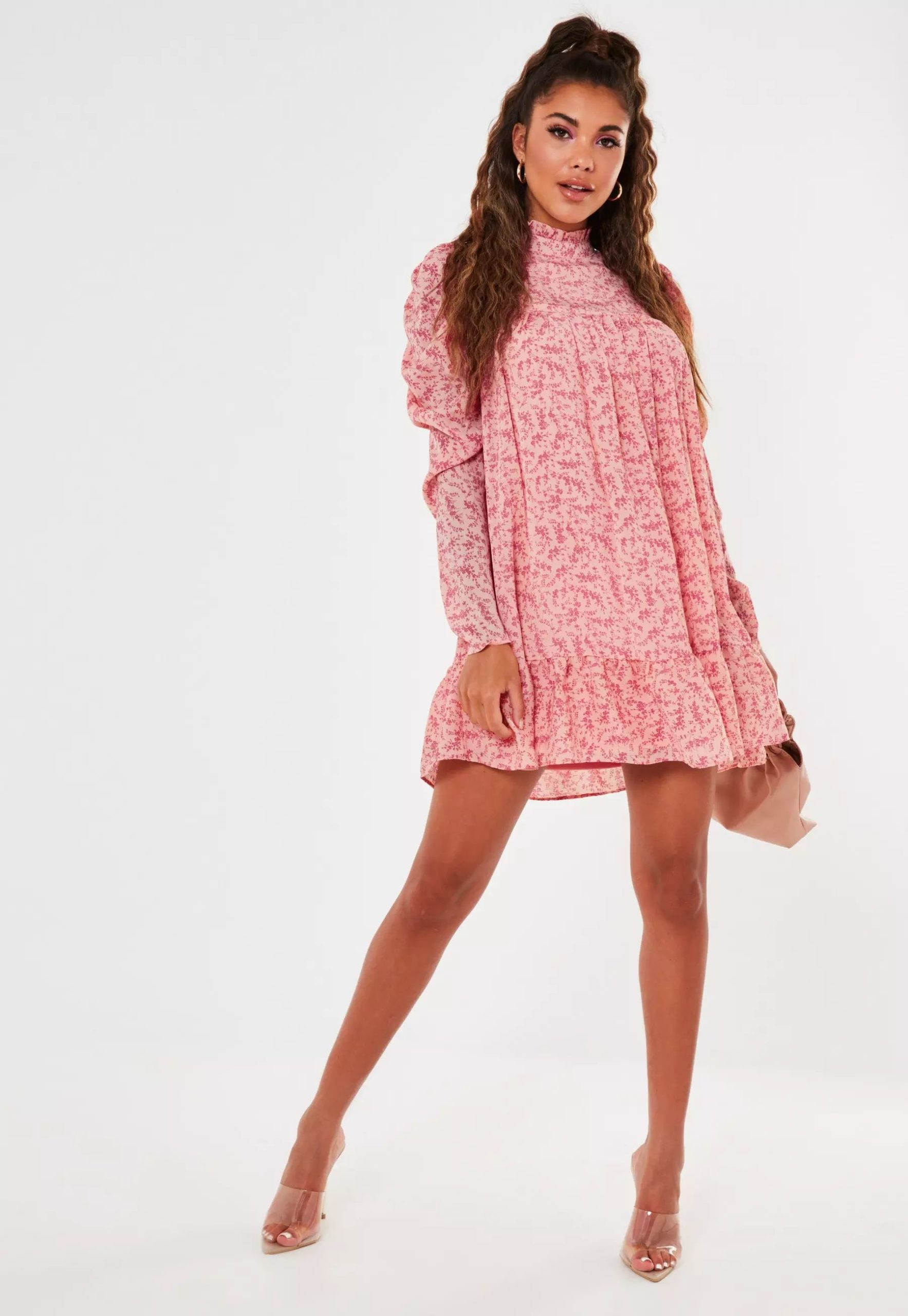 pink ditsy floral high neck puff sleeve smock dress