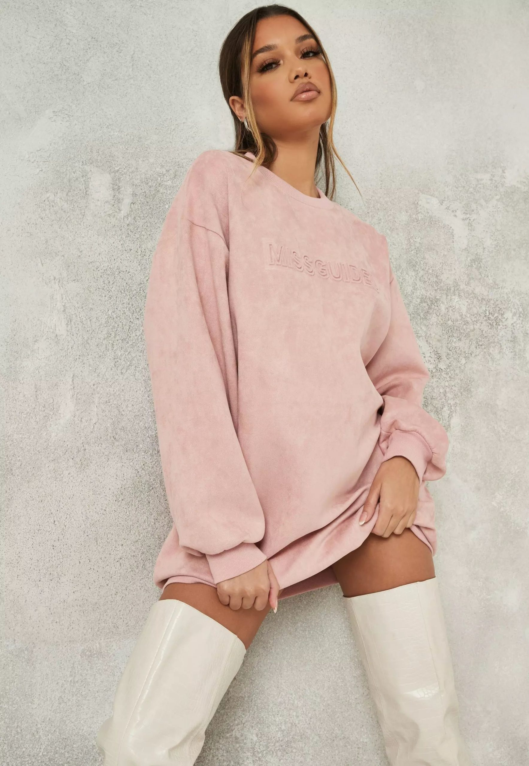 pink missguided suedette oversized sweater dress
