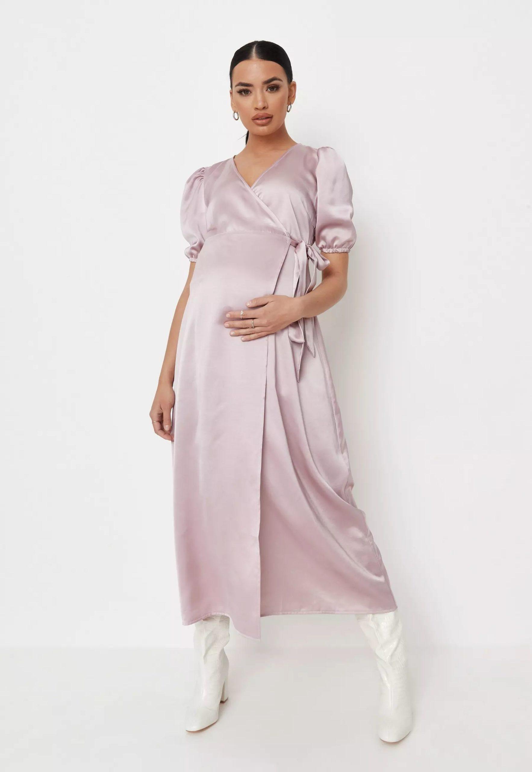 pink satin puff sleeve wrap maternity midaxi dress