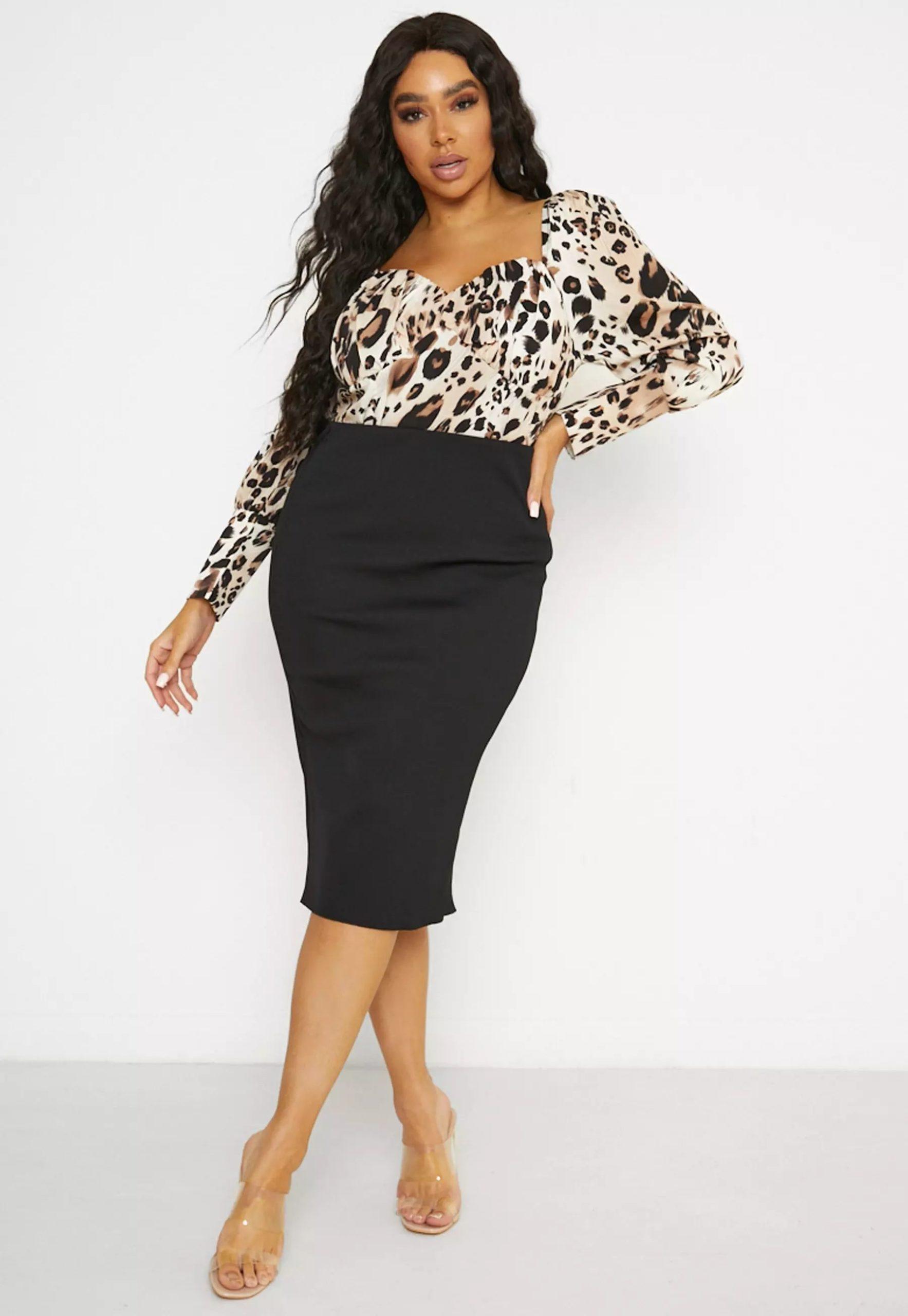 plus size black compact rib midi skirt