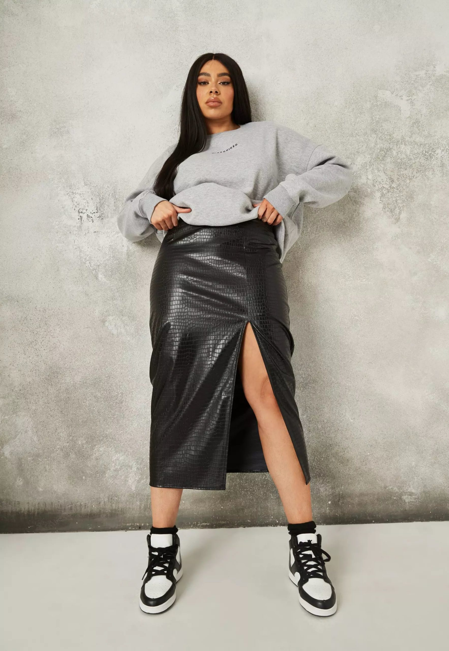 plus size black croc midaxi skirt