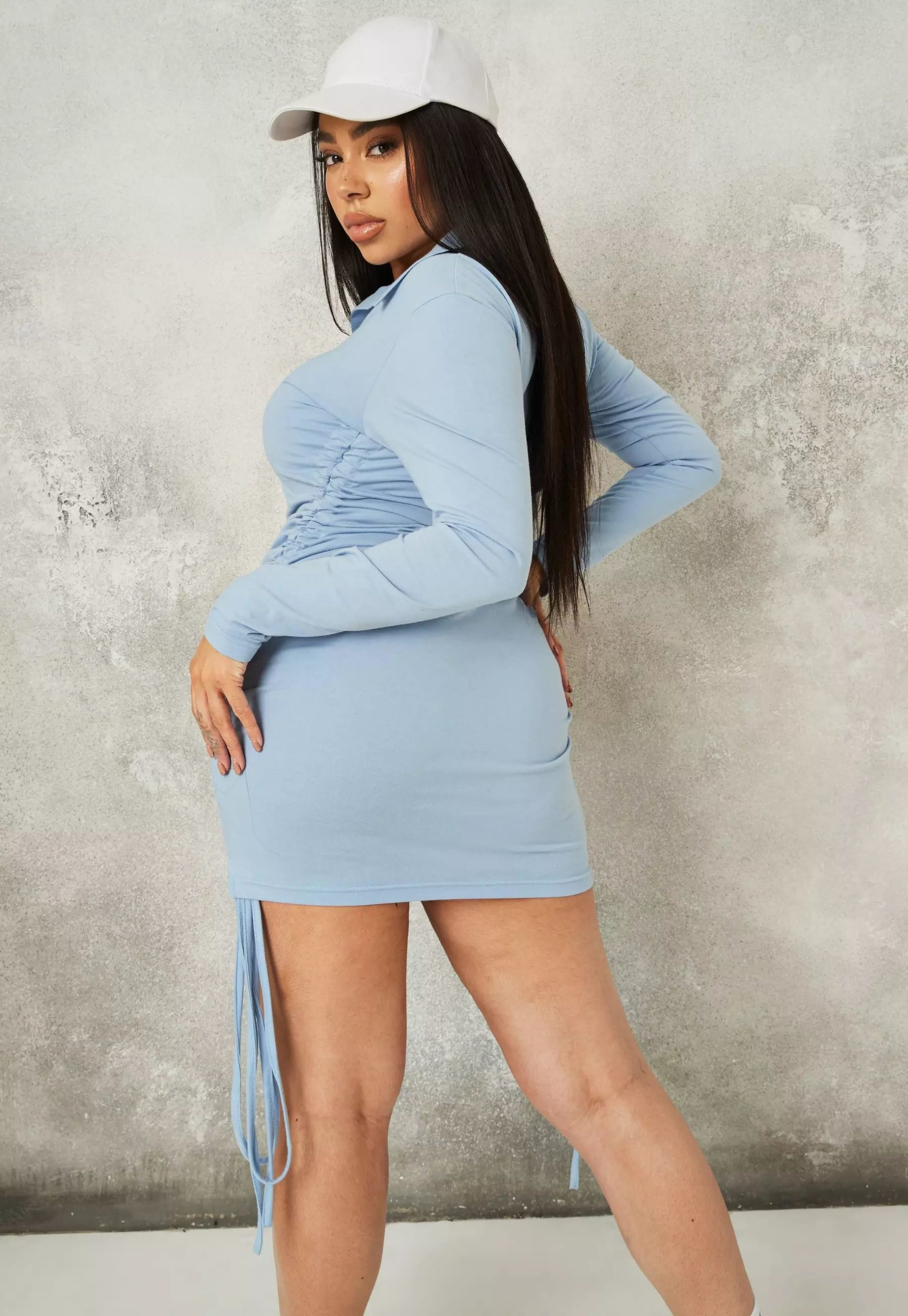 plus size blue jersey drawstring shirt dress
