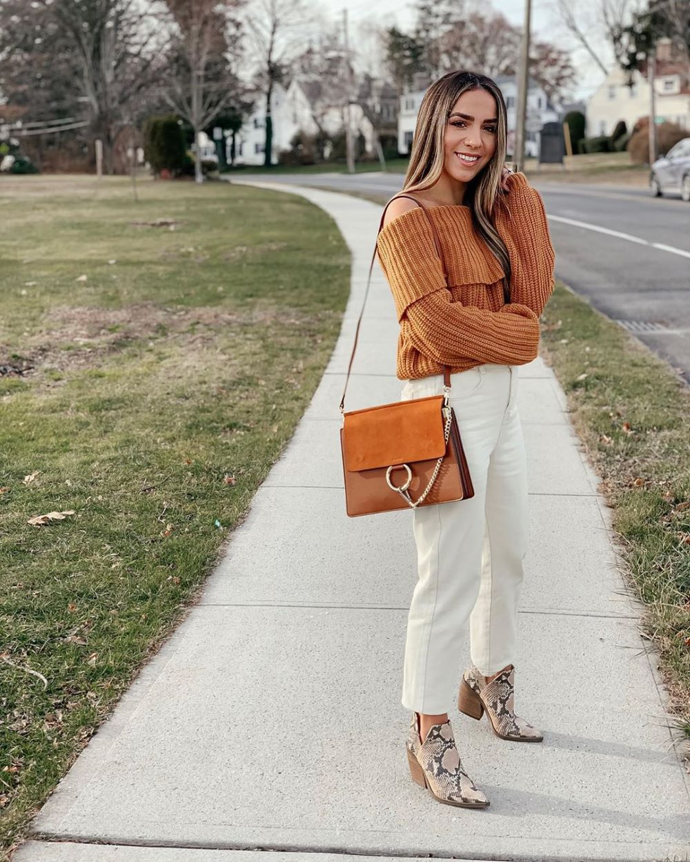 Kick Flare Jeans with Chunky Knit Sweater