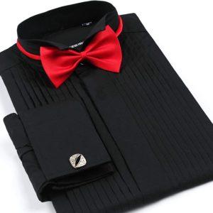 shirt Men'S French Cuff Tuxedo Shirt Solid Color