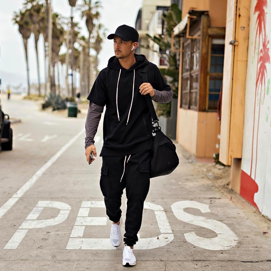 Black short sleeve hoodie