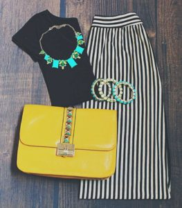 stripes maxi skirt with coloured accessories