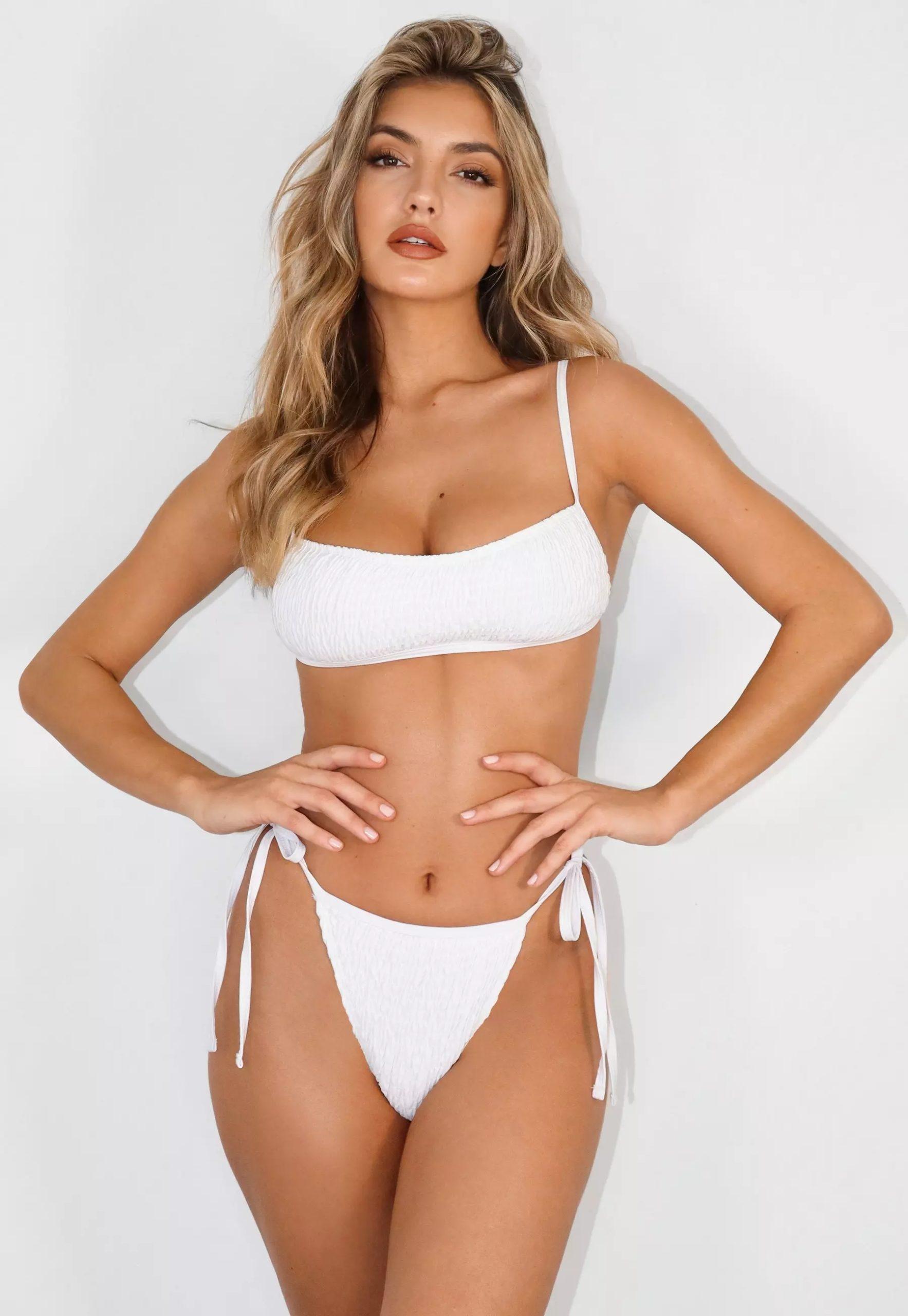white crinkle strappy bandeau bikini top