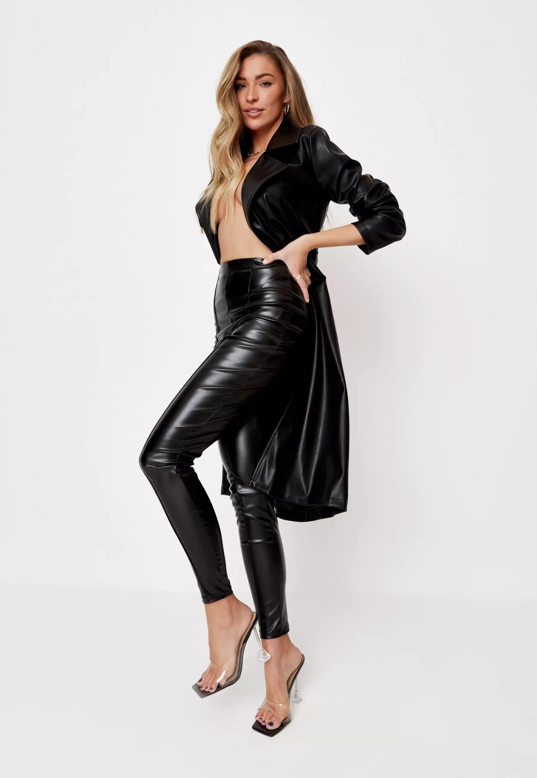 zara mcdermott x missguided black faux leather pin tuck leggings