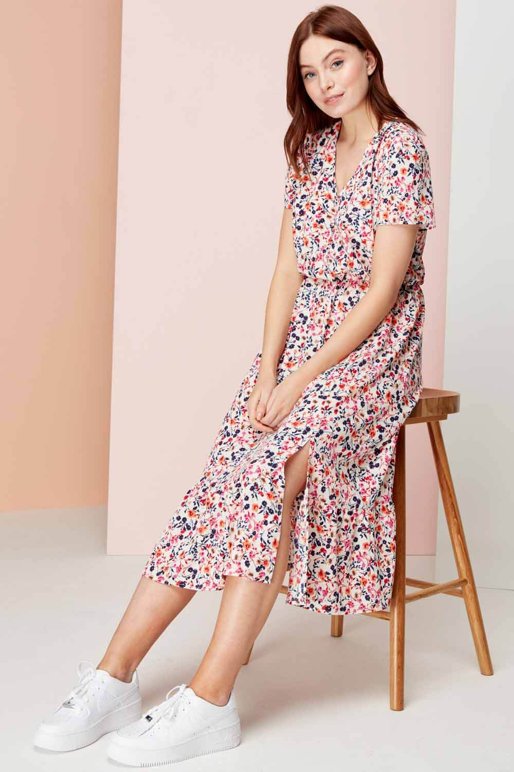 Pink Ditsy Floral Tiered Midi Dress